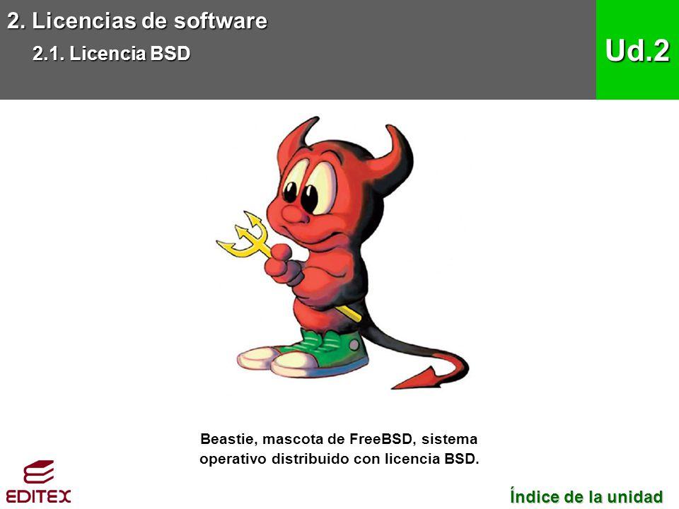 2. Licencias de software 2.1. Licencia BSD Ud.2 Beastie, mascota de FreeBSD, sistema operativo distribuido con licencia BSD. Índice de la unidad Índic