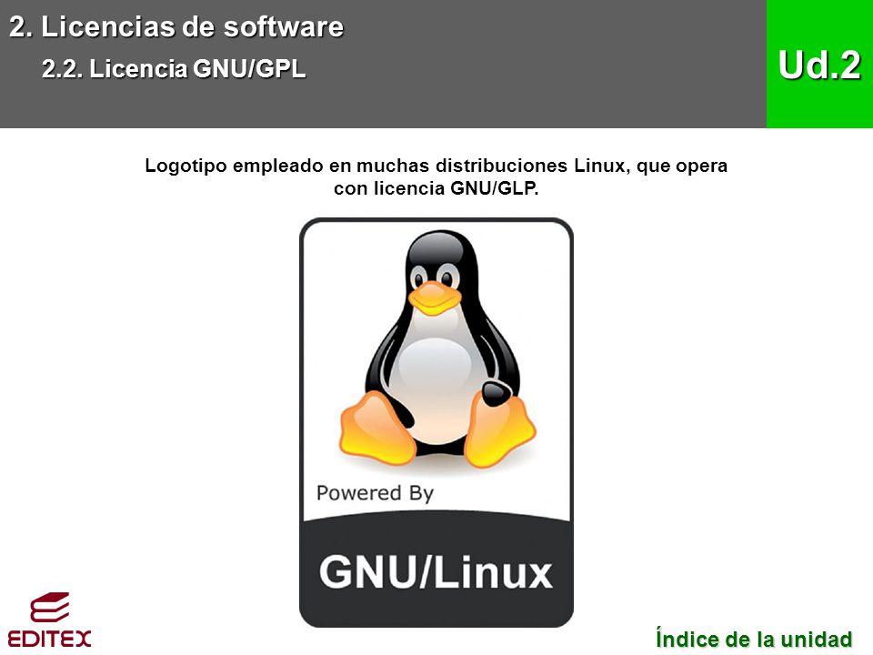 2. Licencias de software 2.2. Licencia GNU/GPL Ud.2 Logotipo empleado en muchas distribuciones Linux, que opera con licencia GNU/GLP. Índice de la uni