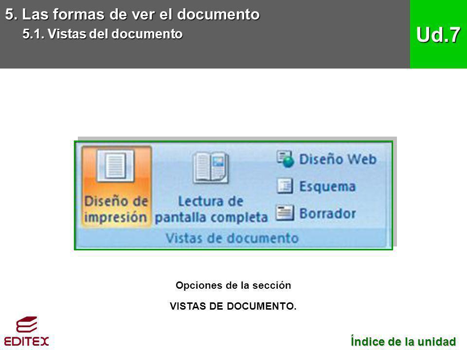 5. Las formas de ver el documento 5.1. Vistas del documento Ud.7 Opciones de la sección VISTAS DE DOCUMENTO. Índice de la unidad Índice de la unidad