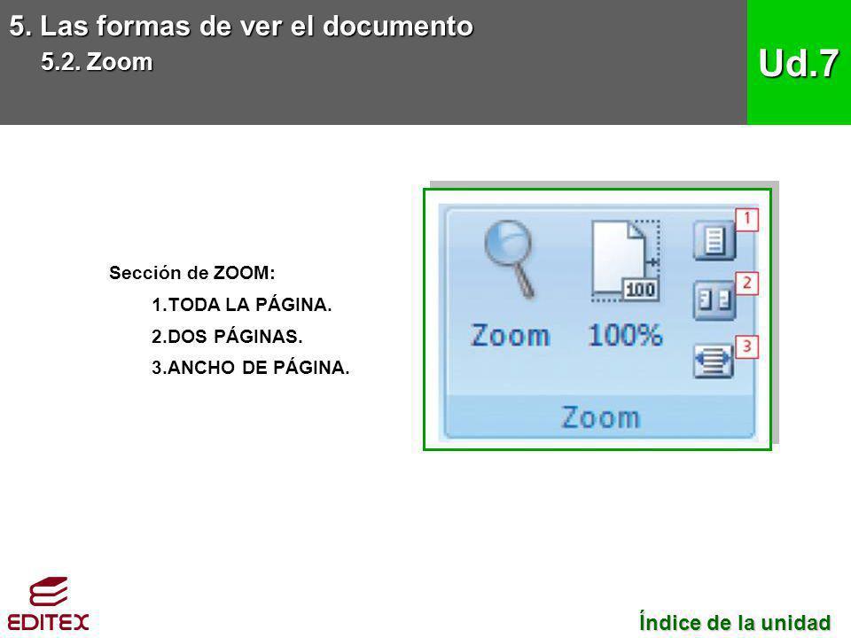 5. Las formas de ver el documento 5.2. Zoom Ud.7 Sección de ZOOM: 1.TODA LA PÁGINA. 2.DOS PÁGINAS. 3.ANCHO DE PÁGINA. Índice de la unidad Índice de la