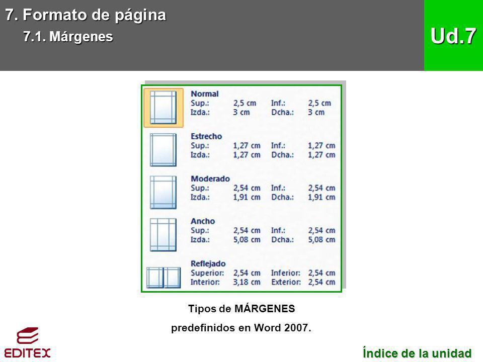 7. Formato de página 7.1. Márgenes Ud.7 Tipos de MÁRGENES predefinidos en Word 2007. Índice de la unidad Índice de la unidad