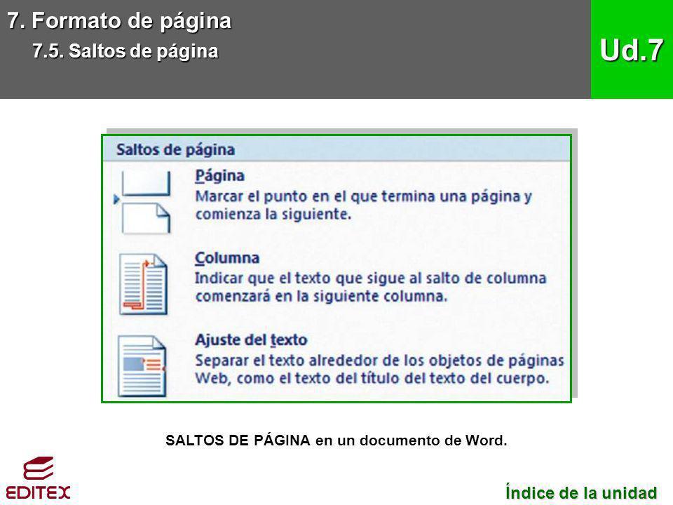 7. Formato de página 7.5. Saltos de página Ud.7 SALTOS DE PÁGINA en un documento de Word. Índice de la unidad Índice de la unidad