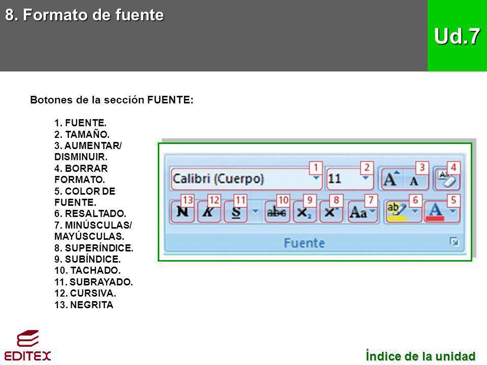 Botones de la sección FUENTE: 1. FUENTE. 2. TAMAÑO. 3. AUMENTAR/ DISMINUIR. 4. BORRAR FORMATO. 5. COLOR DE FUENTE. 6. RESALTADO. 7. MINÚSCULAS/ MAYÚSC