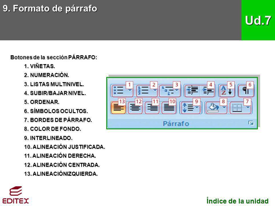 9. Formato de párrafo Ud.7 Índice de la unidad Índice de la unidad Botones de la sección PÁRRAFO: 1. VIÑETAS. 2. NUMERACIÓN. 3. LISTAS MULTINIVEL. 4.