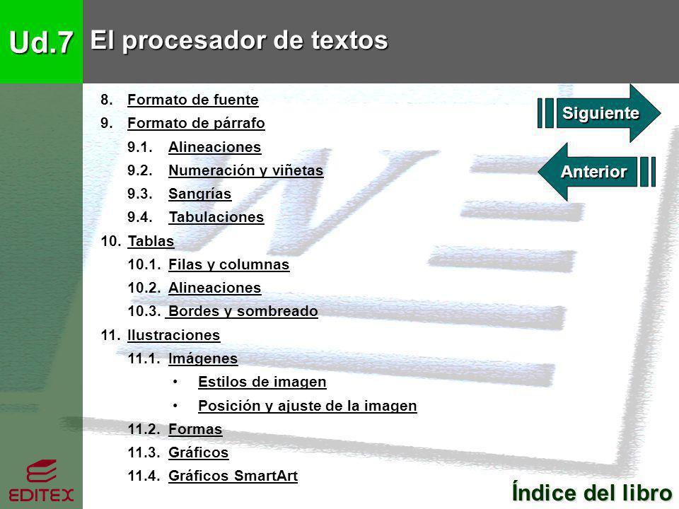 Ud.7 El procesador de textos Índice del libro Índice del libro 8. Formato de fuenteFormato de fuente 9. Formato de párrafoFormato de párrafo 9.1. Alin