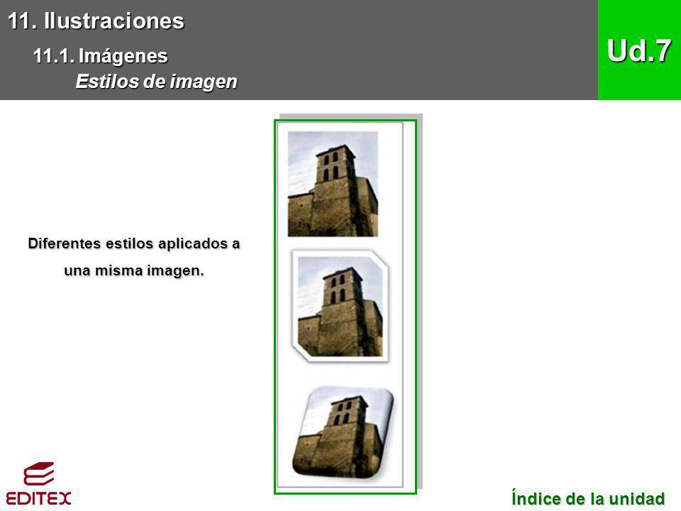 11. Ilustraciones 11.1. Imágenes Estilos de imagen Ud.7 Índice de la unidad Índice de la unidad Diferentes estilos aplicados a una misma imagen.