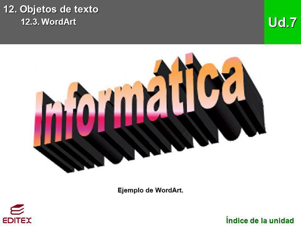 12. Objetos de texto 12.3. WordArt Ud.7 Índice de la unidad Índice de la unidad Ejemplo de WordArt.