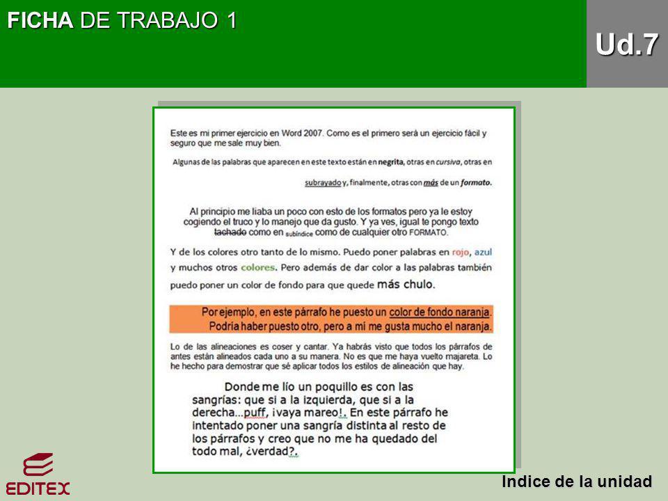 FICHA DE TRABAJO 1 Ud.7 Índice de la unidad Índice de la unidad