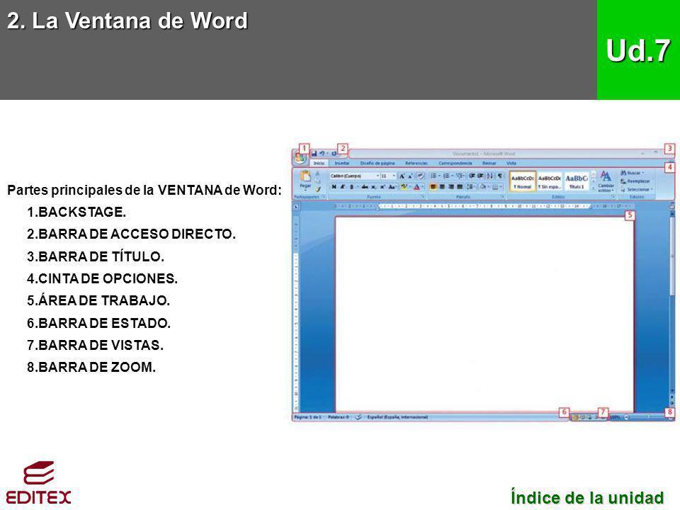 Partes principales de la VENTANA de Word: 1.BACKSTAGE. 2.BARRA DE ACCESO DIRECTO. 3.BARRA DE TÍTULO. 4.CINTA DE OPCIONES. 5.ÁREA DE TRABAJO. 6.BARRA D