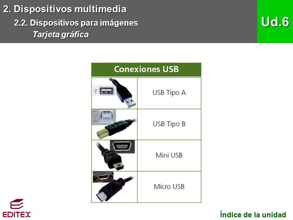 2. Dispositivos multimedia 2.2. Dispositivos para imágenes Tarjeta gráfica Ud.6 Índice de la unidad Índice de la unidad