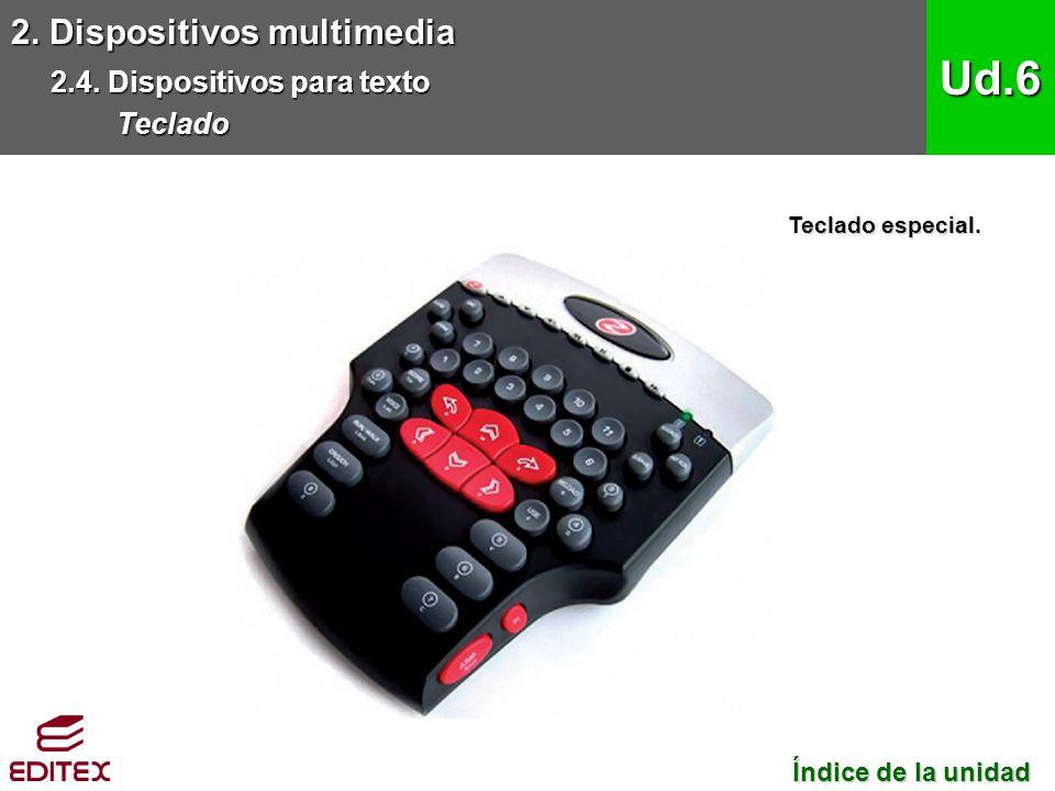 2. Dispositivos multimedia 2.4. Dispositivos para texto Teclado Ud.6 Índice de la unidad Índice de la unidad Teclado especial.