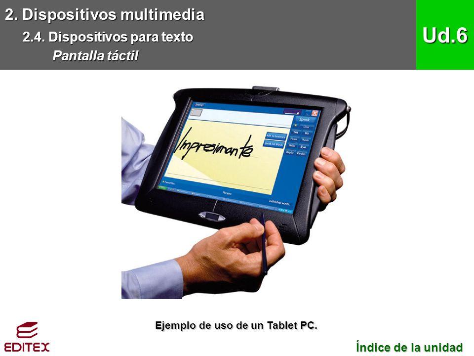 2. Dispositivos multimedia 2.4. Dispositivos para texto Pantalla táctil Ud.6 Índice de la unidad Índice de la unidad Ejemplo de uso de un Tablet PC.