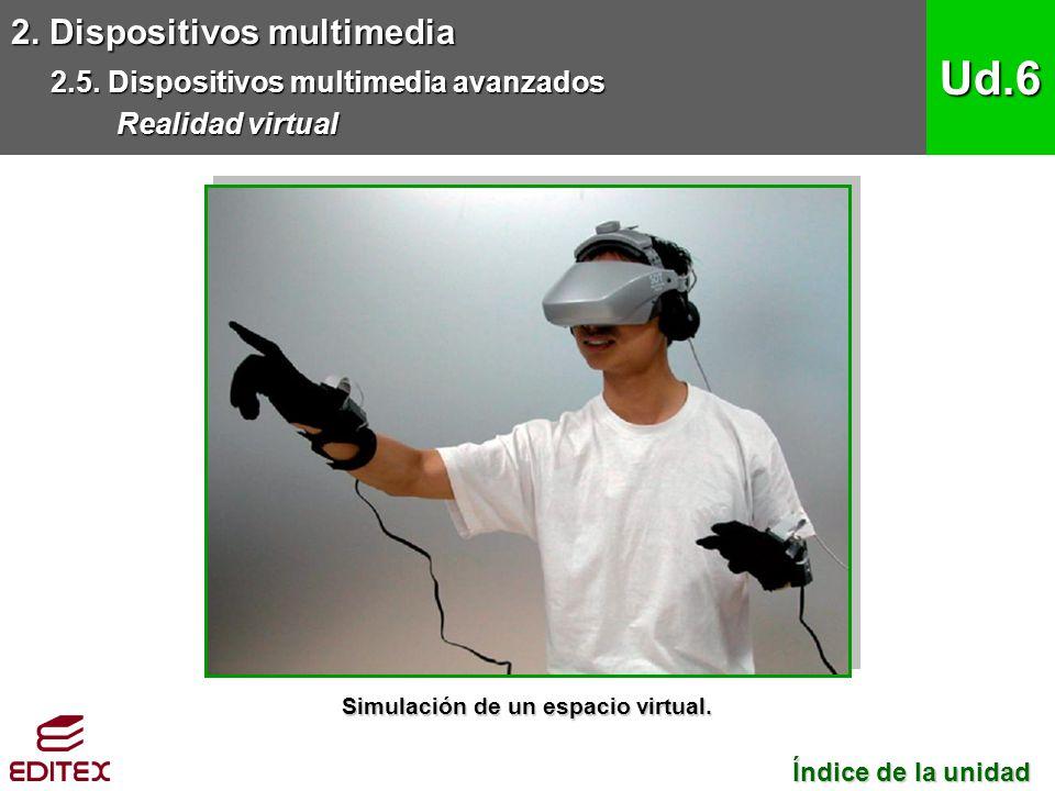 2. Dispositivos multimedia 2.5. Dispositivos multimedia avanzados Realidad virtual Ud.6 Índice de la unidad Índice de la unidad Simulación de un espac