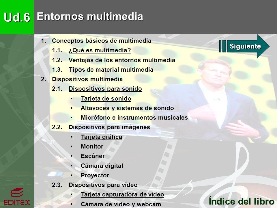 Ud.6 Entornos multimedia 1. Conceptos básicos de multimedia 1.1. ¿Qué es multimedia?¿Qué es multimedia? 1.2. Ventajas de los entornos multimedia 1.3.