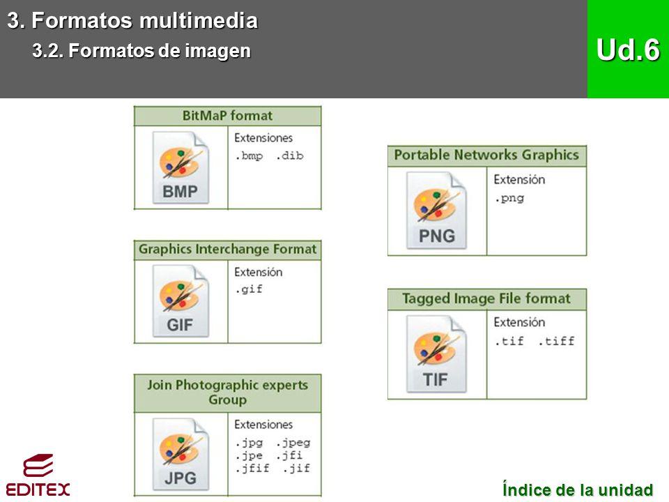 3. Formatos multimedia 3.2. Formatos de imagen Ud.6 Índice de la unidad Índice de la unidad