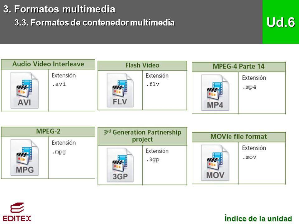 3. Formatos multimedia 3.3. Formatos de contenedor multimedia Ud.6 Índice de la unidad Índice de la unidad