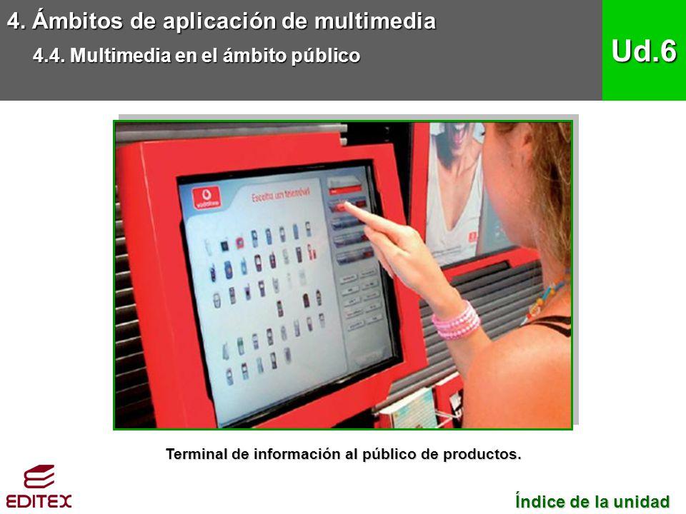 4. Ámbitos de aplicación de multimedia 4.4. Multimedia en el ámbito público Ud.6 Índice de la unidad Índice de la unidad Terminal de información al pú