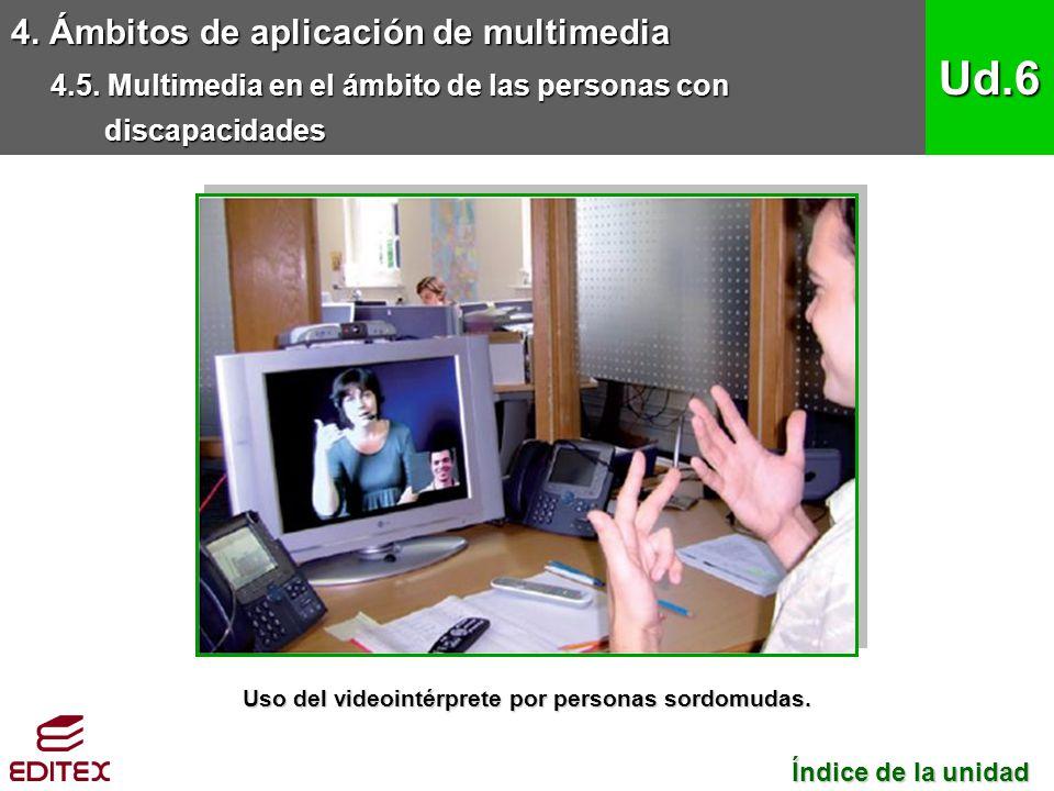 4. Ámbitos de aplicación de multimedia 4.5. Multimedia en el ámbito de las personas con discapacidades Ud.6 Índice de la unidad Índice de la unidad Us