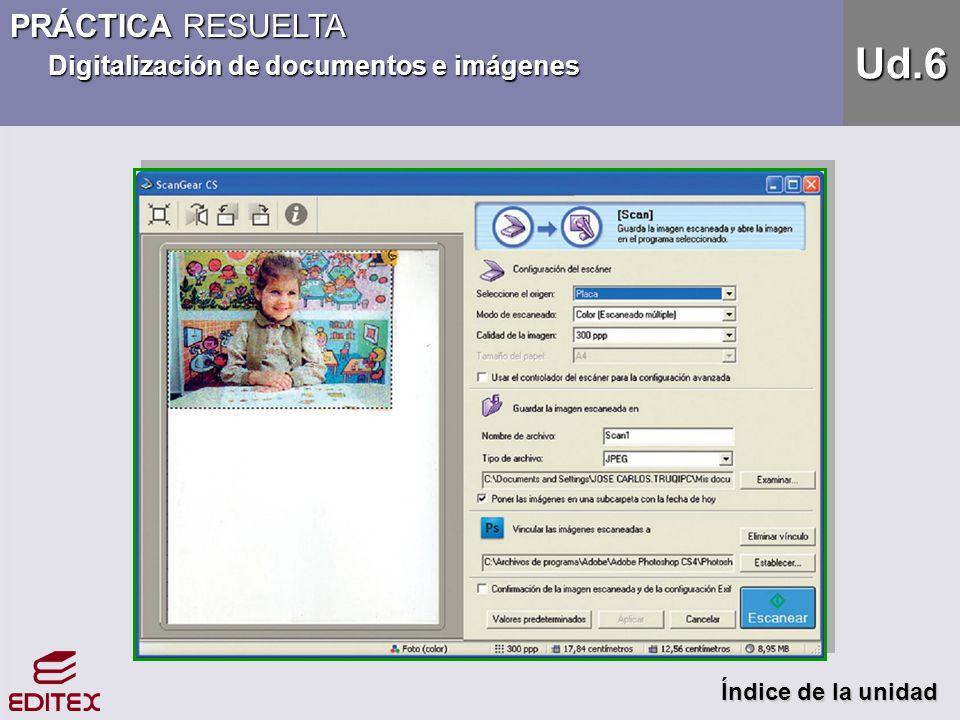 PRÁCTICA RESUELTA Digitalización de documentos e imágenes Índice de la unidad Índice de la unidad Ud.6