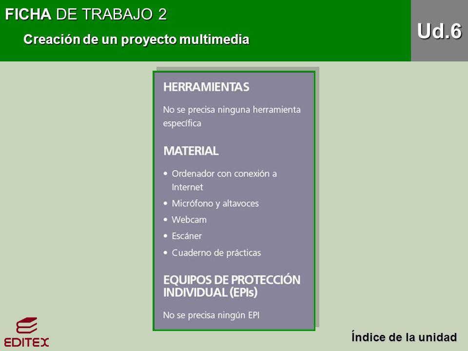 FICHA DE TRABAJO 2 Creación de un proyecto multimedia Ud.6 Índice de la unidad Índice de la unidad