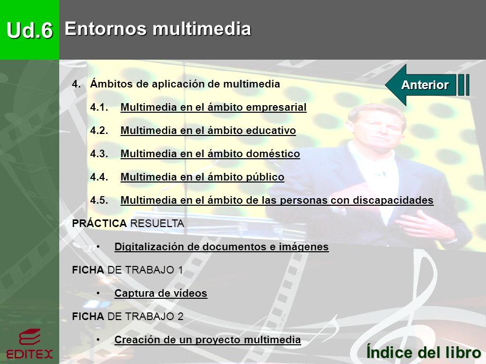Ud.6 Entornos multimedia Índice del libro Índice del libro 4. Ámbitos de aplicación de multimedia 4.1. Multimedia en el ámbito empresarialMultimedia e