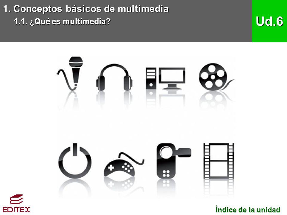 1. Conceptos básicos de multimedia 1.1. ¿Qué es multimedia? Ud.6 Índice de la unidad Índice de la unidad