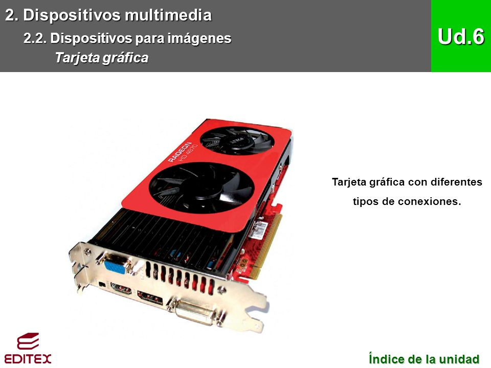 2. Dispositivos multimedia 2.2. Dispositivos para imágenes Tarjeta gráfica Ud.6 Tarjeta gráfica con diferentes tipos de conexiones. Índice de la unida