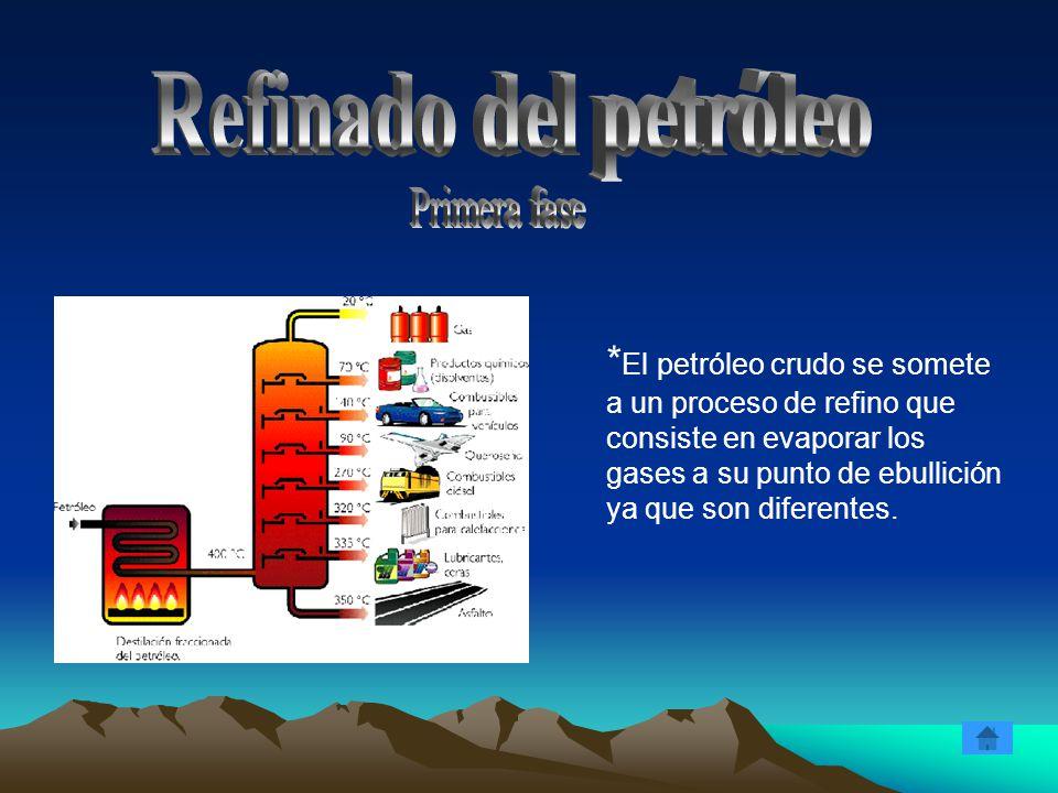 * El petróleo crudo se somete a un proceso de refino que consiste en evaporar los gases a su punto de ebullición ya que son diferentes.