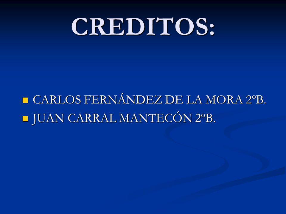 CREDITOS: CARLOS FERNÁNDEZ DE LA MORA 2ºB. CARLOS FERNÁNDEZ DE LA MORA 2ºB. JUAN CARRAL MANTECÓN 2ºB. JUAN CARRAL MANTECÓN 2ºB.