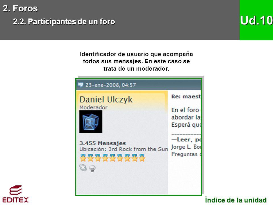 2. Foros 2.2. Participantes de un foro Ud.10 Identificador de usuario que acompaña todos sus mensajes. En este caso se trata de un moderador. Índice d