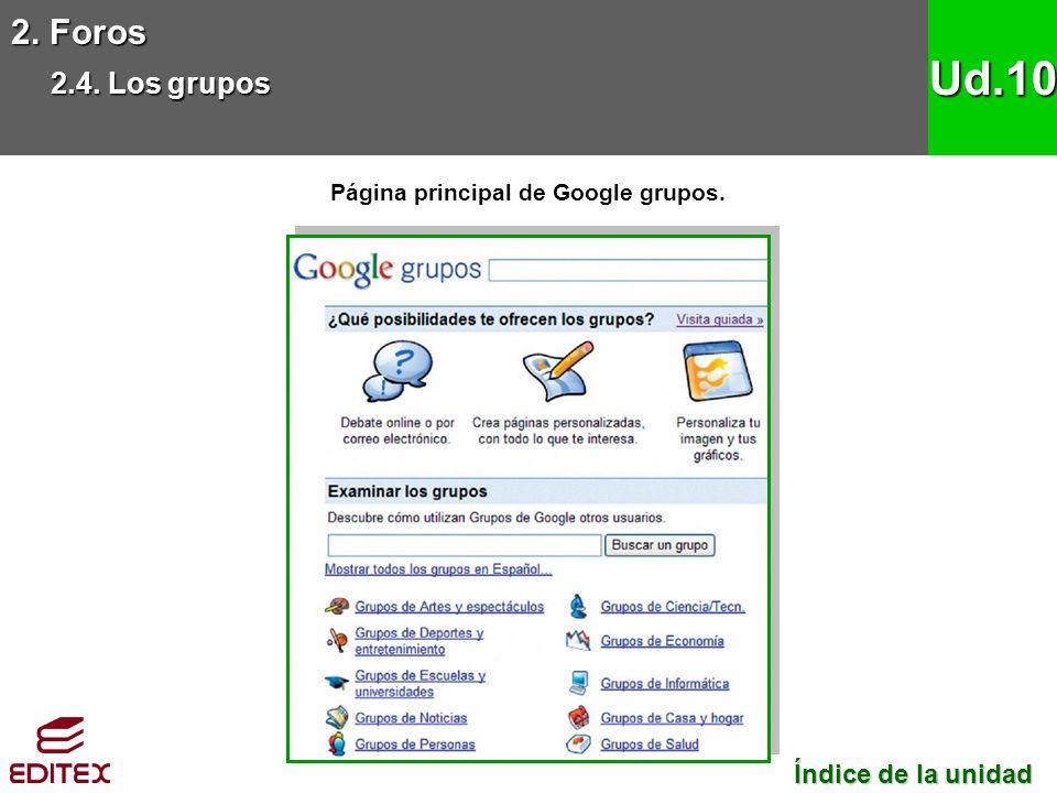 2. Foros 2.4. Los grupos Ud.10 Página principal de Google grupos. Índice de la unidad Índice de la unidad