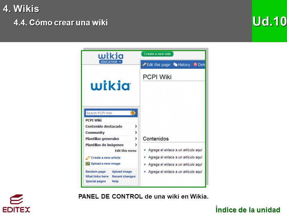 4. Wikis 4.4. Cómo crear una wiki Ud.10 PANEL DE CONTROL de una wiki en Wikia. Índice de la unidad Índice de la unidad