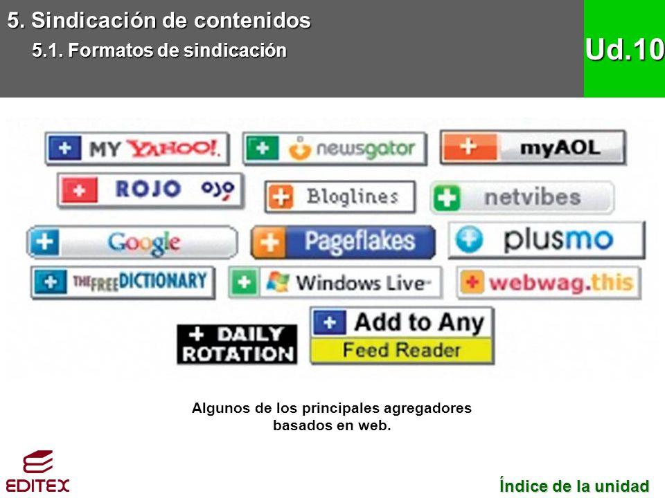 5. Sindicación de contenidos 5.1. Formatos de sindicación Ud.10 Algunos de los principales agregadores basados en web. Índice de la unidad Índice de l