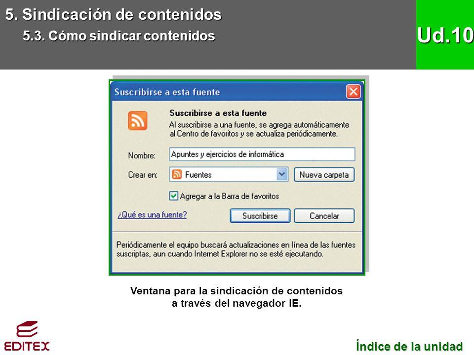 5. Sindicación de contenidos 5.3. Cómo sindicar contenidos Ud.10 Ventana para la sindicación de contenidos a través del navegador IE. Índice de la uni