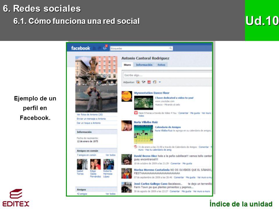 6. Redes sociales 6.1. Cómo funciona una red social Ud.10 Ejemplo de un perfil en Facebook. Índice de la unidad Índice de la unidad