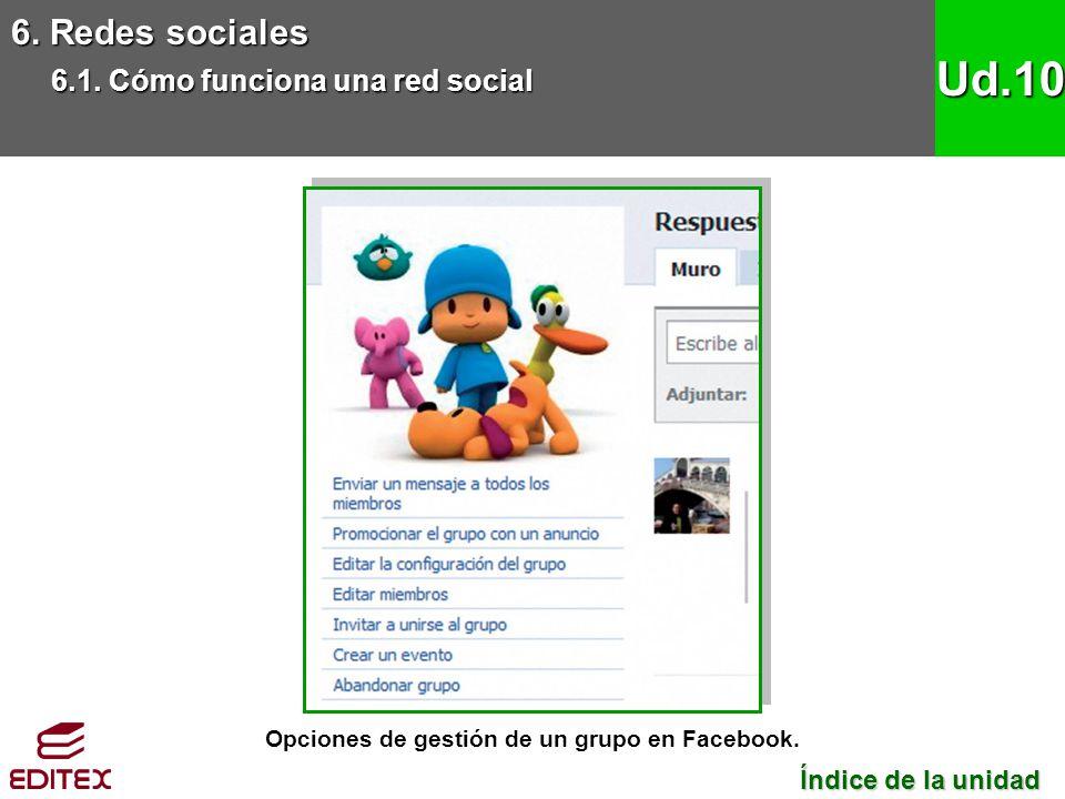 Opciones de gestión de un grupo en Facebook. 6. Redes sociales 6.1. Cómo funciona una red social Ud.10 Índice de la unidad Índice de la unidad