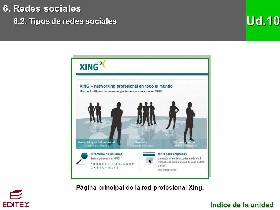 6. Redes sociales 6.2. Tipos de redes sociales Ud.10 Página principal de la red profesional Xing. Índice de la unidad Índice de la unidad
