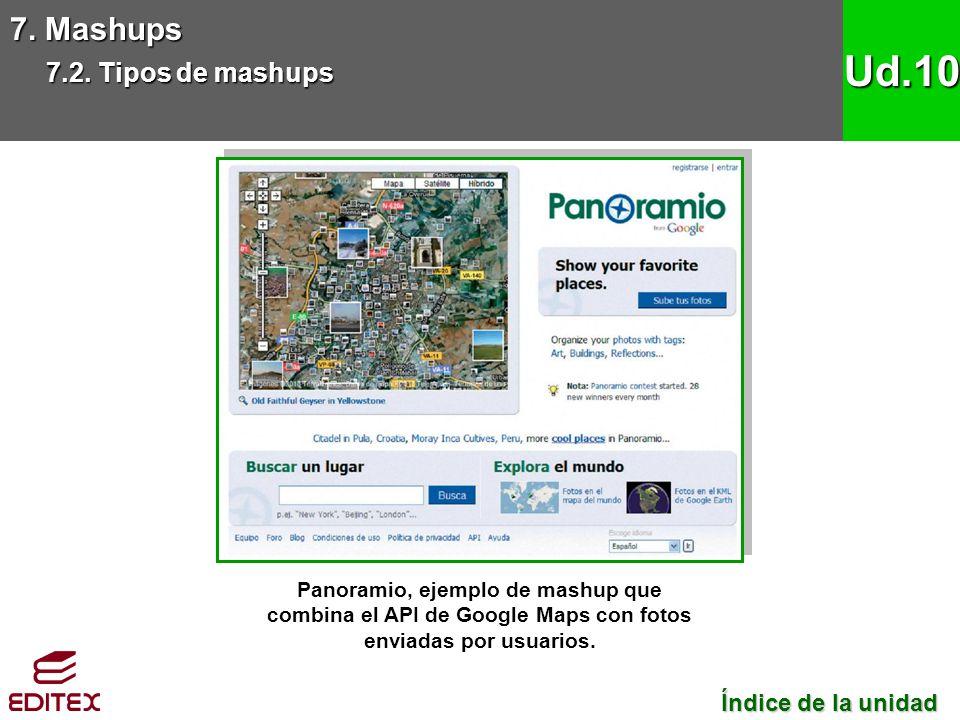 7. Mashups 7.2. Tipos de mashups Ud.10 Panoramio, ejemplo de mashup que combina el API de Google Maps con fotos enviadas por usuarios. Índice de la un