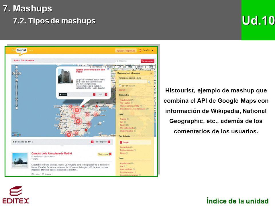 7. Mashups 7.2. Tipos de mashups Ud.10 Histourist, ejemplo de mashup que combina el API de Google Maps con información de Wikipedia, National Geograph