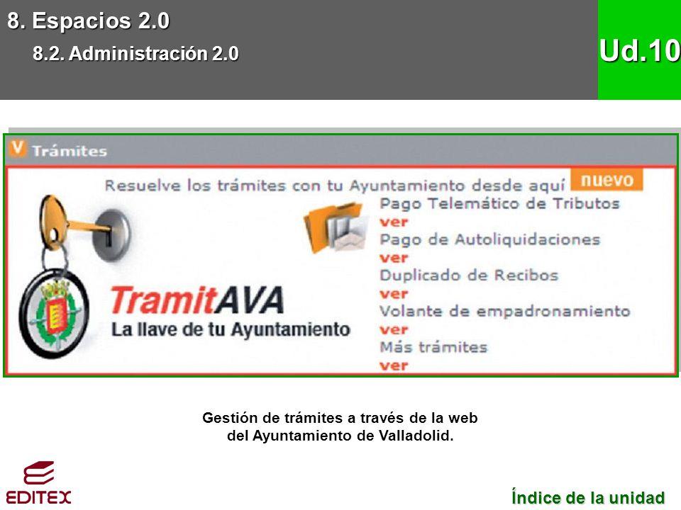 8. Espacios 2.0 8.2. Administración 2.0 Ud.10 Gestión de trámites a través de la web del Ayuntamiento de Valladolid. Índice de la unidad Índice de la