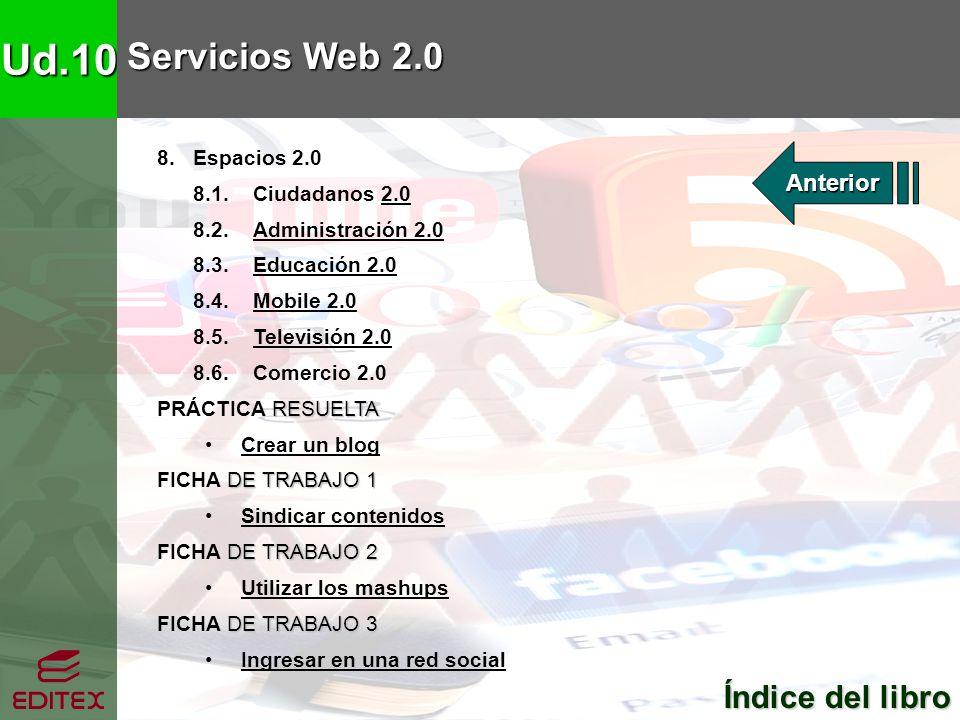 Ud.10 Servicios Web 2.0 Índice del libro Índice del libro 8. Espacios 2.0 8.1. Ciudadanos 2.02.0 8.2. Administración 2.0Administración 2.0 8.3. Educac