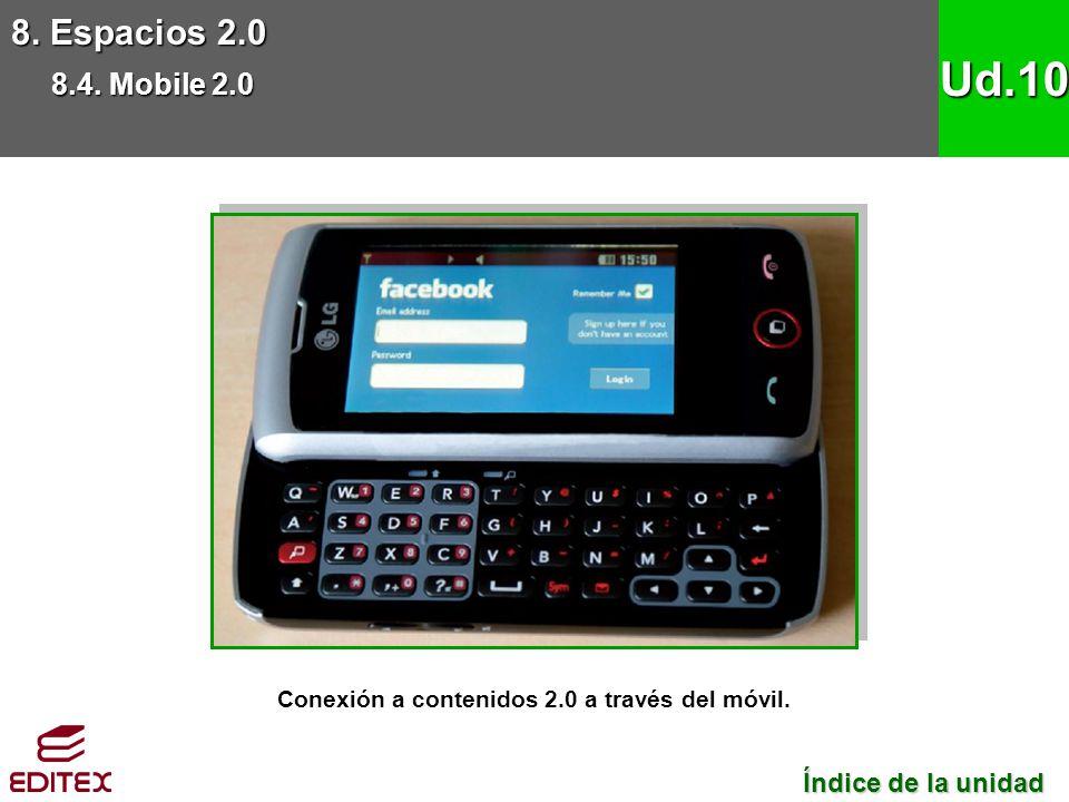 8. Espacios 2.0 8.4. Mobile 2.0 Ud.10 Conexión a contenidos 2.0 a través del móvil. Índice de la unidad Índice de la unidad