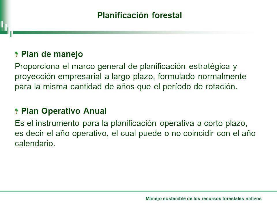 Manejo sostenible de los recursos forestales nativos Planificación forestal Plan de manejo Proporciona el marco general de planificación estratégica y proyección empresarial a largo plazo, formulado normalmente para la misma cantidad de años que el período de rotación.