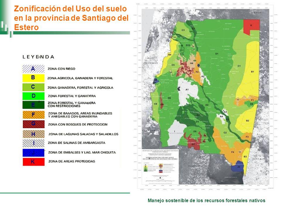 Manejo sostenible de los recursos forestales nativos Zonificación del Uso del suelo en la provincia de Santiago del Estero A B C D E F H I G K J