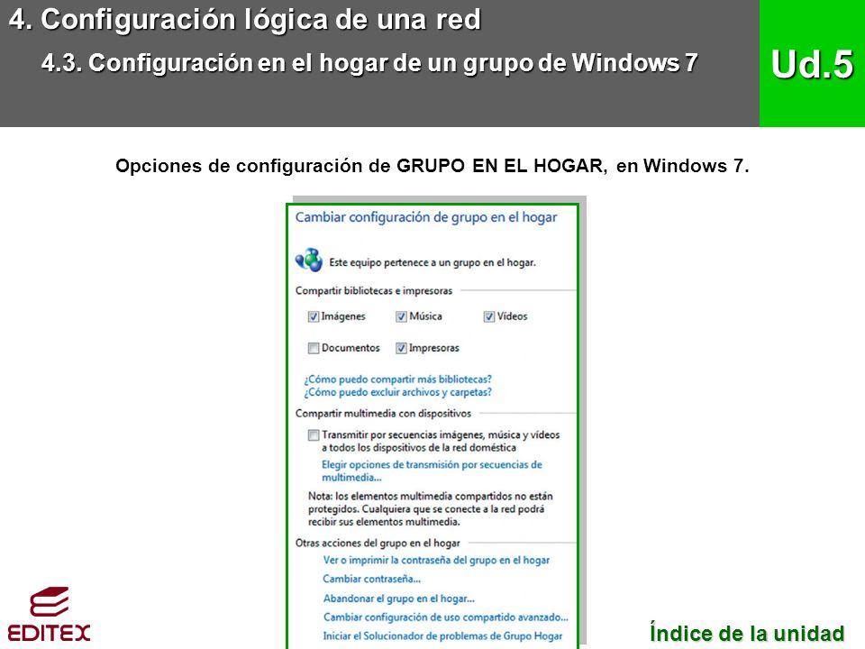 4. Configuración lógica de una red 4.3. Configuración en el hogar de un grupo de Windows 7 Ud.5 Índice de la unidad Índice de la unidad Opciones de co