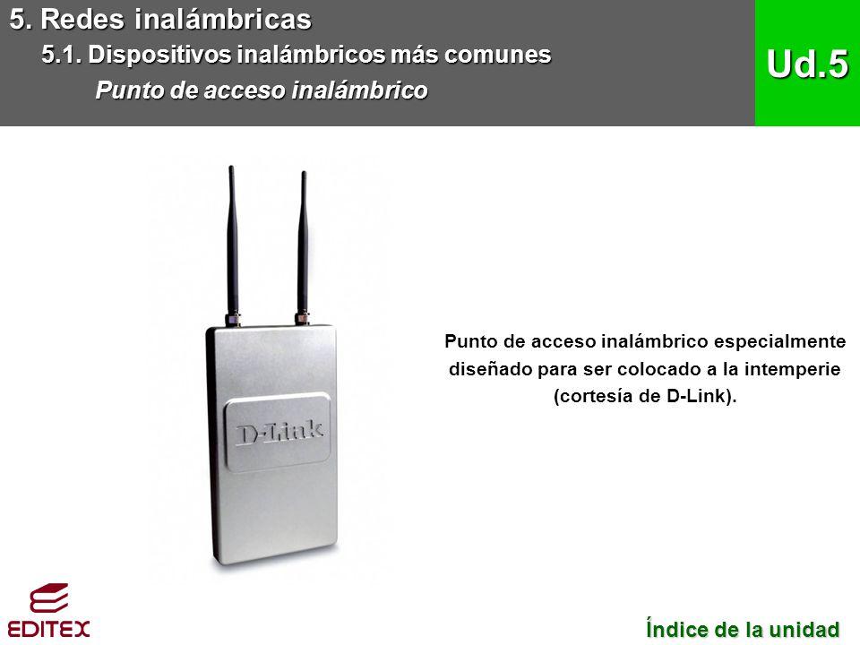 5. Redes inalámbricas 5.1. Dispositivos inalámbricos más comunes Punto de acceso inalámbrico Ud.5 Índice de la unidad Índice de la unidad Punto de acc