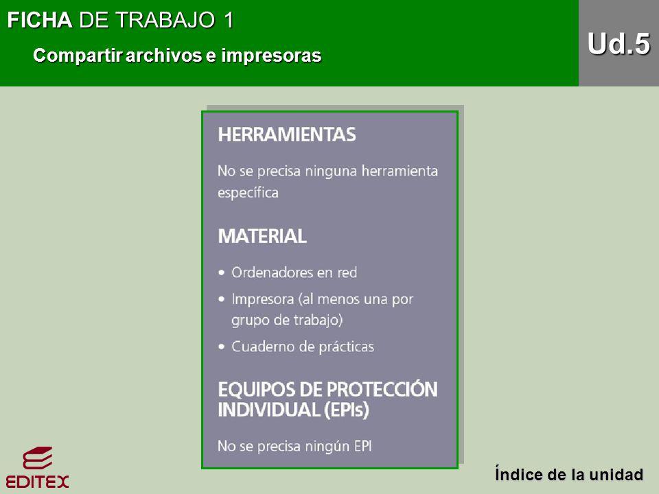 FICHA DE TRABAJO 1 Compartir archivos e impresoras Ud.5 Índice de la unidad Índice de la unidad