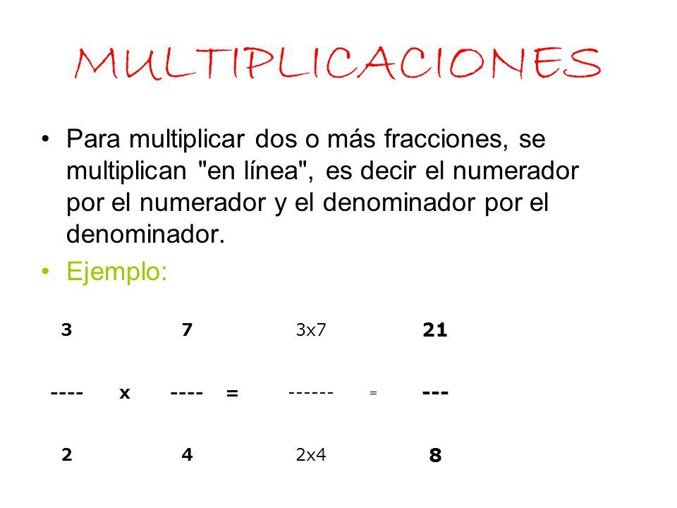 DIVISIONES Para dividir dos o más fracciones, se multiplican en cruz,es decir, el numerador de la primera fracción por el denominador de la segunda, que es igual al numerador de la fracción total y el denominador primera por el numerador de la segunda.