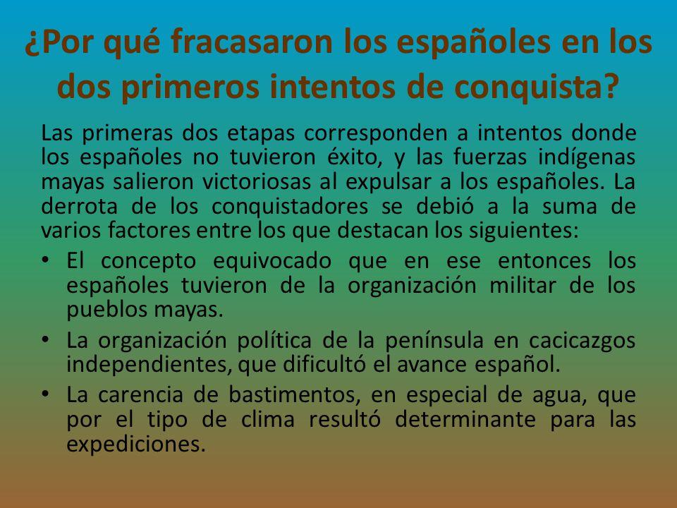 ¿Por qué fracasaron los españoles en los dos primeros intentos de conquista? Las primeras dos etapas corresponden a intentos donde los españoles no tu