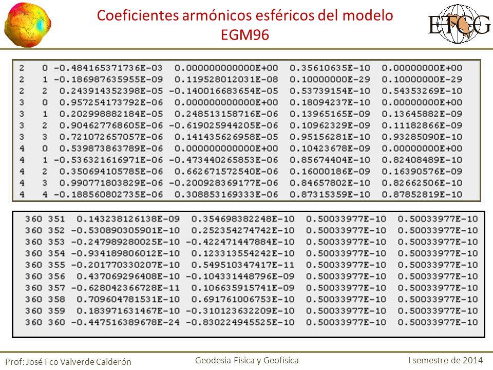 Coeficientes armónicos esféricos del modelo EGM96 Prof: José Fco Valverde Calderón Geodesia Física y Geofísica I semestre de 2014